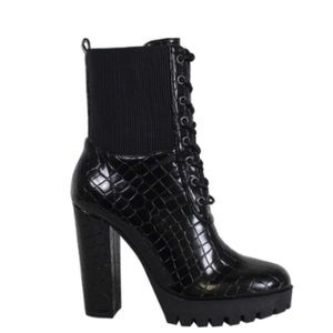 Shoes - Stacked Croco Embossed Booties Black